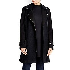 Wallis - Black mixed fabric biker jacket