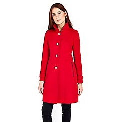 Wallis - Red zip pocket funnel coat