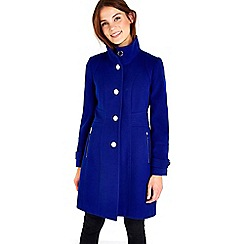 Wallis - Blue zip pocket funnel coat