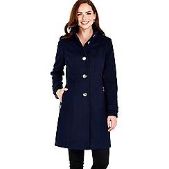 Wallis - Navy zip pocket funnel coat