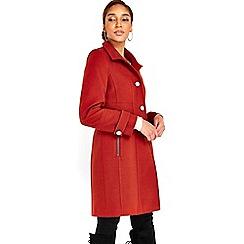 Wallis - Rust zip pocket funnel coat