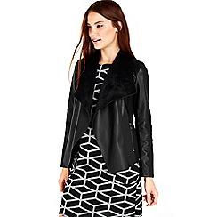 Wallis - Black leather look waterfall coat