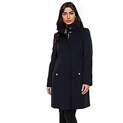 Wallis - Navy faux wool zip through funnel coat