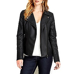 Wallis - Black asymmetric biker jacket