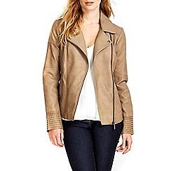 Wallis - Stone asymmetric biker jacket