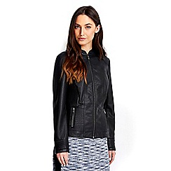 Wallis - Black leather look jacket
