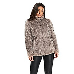 Wallis - Neutral short faux fur funnel neck jacket