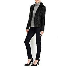 Wallis - Black asymmetrical biker jacket
