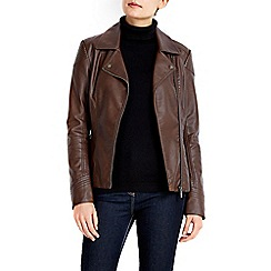 Wallis - Chocolate asymmetrical biker jacket