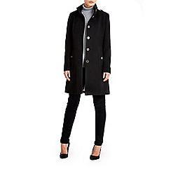 Wallis - Black multistitch funnel coat