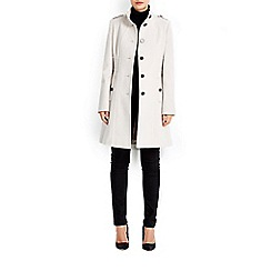 Wallis - Stone multistitch funnel coat