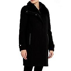 Wallis - Black faux fur collar funnel coat