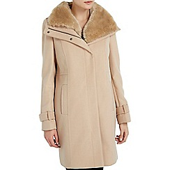 Wallis - Honey faux fur collar funnel coat