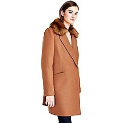 Wallis - Rust fur collar coat
