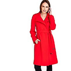 Wallis - Red wrap belted coat