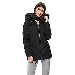 Wallis - Black short padded buckle neck coat