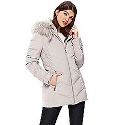 Wallis - Light grey short padded buckle neck coat