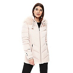 Wallis - Pale pink short padded buckle neck coat