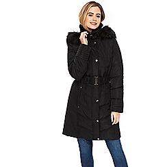 Wallis - Black padded belted buckle neck coat