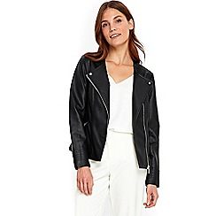 Wallis - Black collarless biker jacket