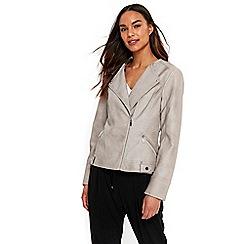 Wallis - Stone collarless biker jacket