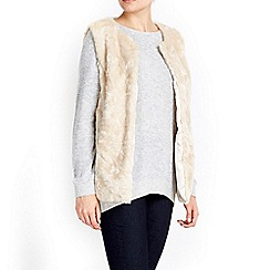 Wallis - Neutral faux fur gilet