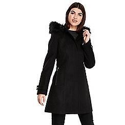 Wallis - Black hooded faux wool funnel coat