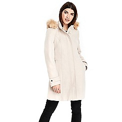 Wallis - Stone hooded faux wool funnel coat