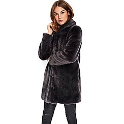 Wallis - Charcoal faux fur midi coat