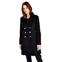 Wallis - Black military faux wool coat
