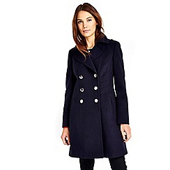Wallis - Navy military faux wool coat