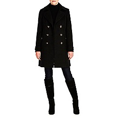 Wallis - Black military revere collar coat
