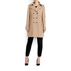 Wallis - Stone military revere collar coat