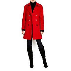 Wallis - Red military collar revere coat
