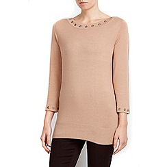 Wallis - Petite camel slash neck top