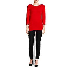Wallis - Petite red slash neck top