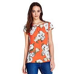 Wallis - Petite orange floral shell top