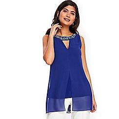 Wallis - Petite blue embellished split front top