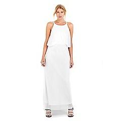 Wallis - Petite ivory pleat skirt maxi dress