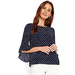 Wallis - Petite navy spot flute sleeves top