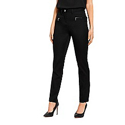 Wallis - Petite black fly front trousers