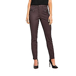 Wallis - Petite grey fly front trousers