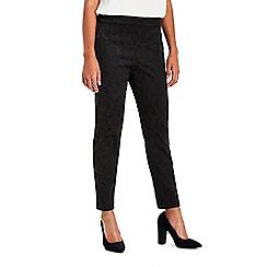 Wallis - Petite black jacquard trousers