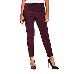 Wallis - Petite berry jacquard trousers