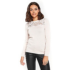 Wallis - Petite blush lace jumper