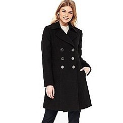 Wallis - Petite black faux wool military jacket