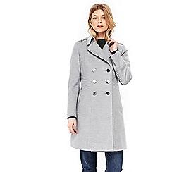 Wallis - Petite grey faux wool military jacket
