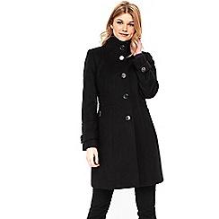Wallis - Petite black faux wool zip coat