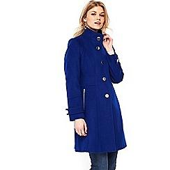 Wallis - Petite cobalt faux wool zip coat