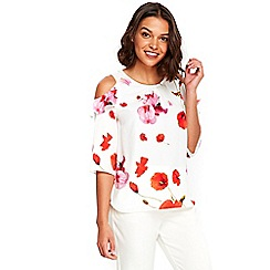 Wallis - Petite floral frill cold shoulder top